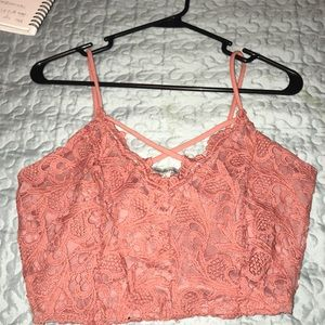 Pink crochet crop top